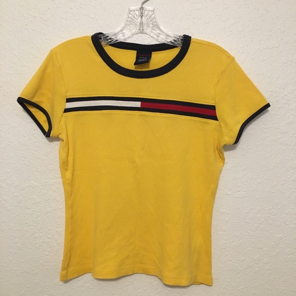 1b752dfd330a32 Vtg Tommy Hilfiger Yellow Flag Cropped T Shirt. M_5a8c74e700450fa90f5d677d